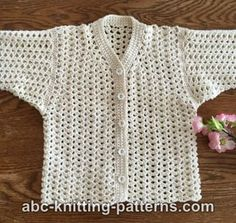 Free crochet pattern for the Sweet Summer Baby Cardigan by ABC Knitting Patterns.