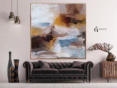 This beige and brown oversized wall art will beautifully complement an interior with blush purple or gold decor elements. Horizontal composition and size make it perfect addition for a living room, bedroom, or dining room. This item is fully handmade, painted with acrylic paints on canvas,