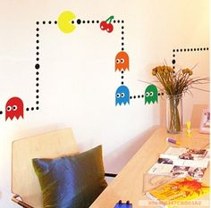 Pacman wall decals for retro loving kids!