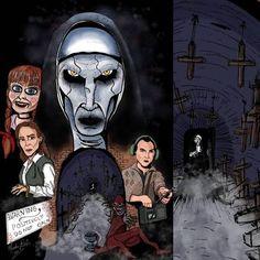 Crooked Man, Lorraine Warren, Universe Art, The Conjuring, Horror, Batman, Collage, Happy, Artwork