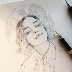 MissLed Watercolour illustration portrait drawing