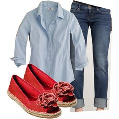 A fashion look from May 2011 featuring stretch shirt, tall skinny jeans and red flat shoes. Browse and shop related looks. Passion For Fashion, Love Fashion, Womens Fashion, Classic Fashion, Fashion Ideas, Fashion Shoes, Fashion Outfits, Mode Style, Style Me