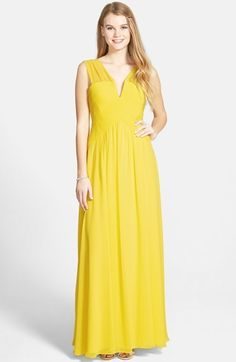 BCBGMAXAZRIA 'Astella' Shirred Georgette Gown #yellow