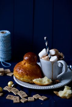Orange Brioche with Star Anise Hot Chocolate