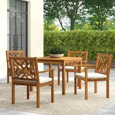 Greyleigh Chillicothe 5 Piece Dining Set with Cushions Color: Teak Brown Living Room Furniture, Home Furniture, Outdoor Furniture Sets, Wooden Furniture, 3 Piece Dining Set, Dining Sets, Solid Wood Table Tops, Beige Cushions, Outdoor Dining Set