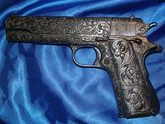 Colt 1911 Custom Grips Solid Pewter w Scroll Pattern Kimber ...