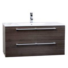 Buy Caen 40 Inch Wall-Mount Modern Bathroom Vanity Set Grey Oak Optional Mirror RS-DM1000-GO on Conceptbaths.com, FREE SHIPPING