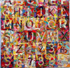 Order and Disorder.  Alphabet and numbers machine appliqued onto crazy blocks.  Quilt and photo by manuela, via Flickr.