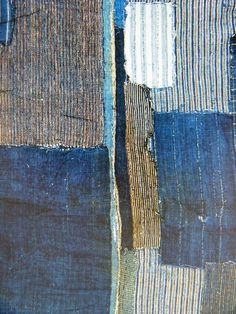 A tapestry of blue fabric remnants. Would be a cool abstract painting