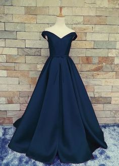 Charming Dark Navy Blue A Line Prom Dresses Satin Off The Shoulder Evening Gowns With Belt And Pleat by prom dresses, $117.00 USD