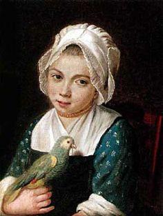 Portrait de jeune fille avec un caraco indigo à motifs à la réserve Fin du XVIIIe s. (deuxième moitié), collection particulière