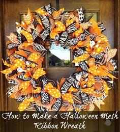 How to Make a Halloween Mesh Ribbon wreath. #tutorial #wreath #DIY #video #decor