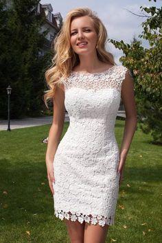 vestido curto guippir casamento civil sem detalhe sob medida