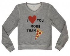 What if I love Pizza more than you? Pizza sweatshhirt from Wildfox kids. Long sleeve tops, Spring 2016, Tween Fashion, Tween Girls tops www.tweeninstyle.com