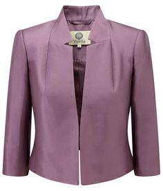 Dress and Coat Wedding Outfits Matching Dresses & Jackets 2 Piece Suits : Amethyst Silk Cropped Jacket Skirt Suit, Jacket Dress, Blazers For Women, Suits For Women, Modele Hijab, Short Long Dresses, Mode Chic, Jacket Pattern, Blazer Fashion