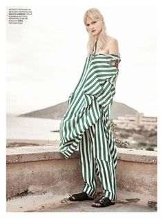 Dolce & Gabbana SS 2016 Green and White Striped Silk Maxi Dress - Inspiration by Color Model Agency, Marie Claire, Blue Hair, Silk Fabric, Ready To Wear, It Cast, Greece, My Style, Ss16