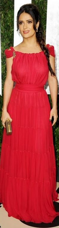 Salma Hayek looked beautiful in a scarlet YSL gown