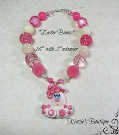 """""""Easter Bunny"""" Chunky Beaded Necklace , Photo Prop, Adult / Children"""