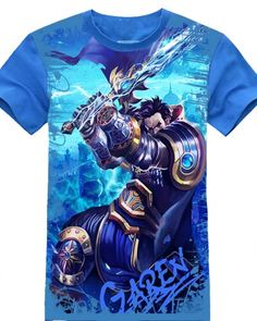 League of Legends herói Jarvan Ⅳ camisa azul de manga curta t 2015 lol herói mais recente tee-