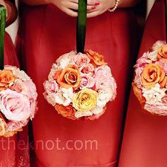 Bridesmaids rose pomanders