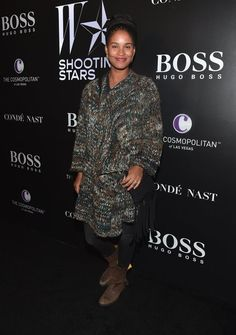 Pin for Later: Stars Gear Up For the Golden Globes!  Joy Bryant stepped out for W's Shooting Stars Exhibit.