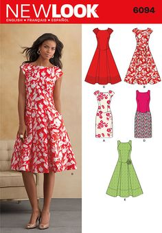 misses' dress with sleeveless or cap-sleeved bodice and slim or flared and pleated skirt. new look sewing pattern.