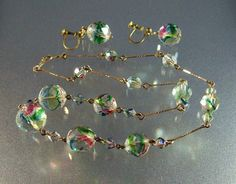 Vintage Czech Iris Glass Necklace Earrings Set by LynnHislopJewels, $42.99