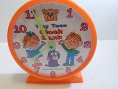 Toy Clock Bank Tiny Teen Made in Hong Kong Yellow Orange  #TinyTeen