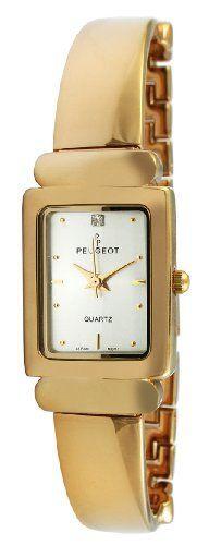 Peugeot Women's 452 Gold-Tone Half-Bangle Watch Trendy Watches, Cool Watches, Women's Watches, Wrist Watches, Jewlery, Jewelry Bracelets, Bangles, Red Day, Women Brands