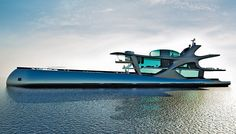 Belgian design firm Puresang has unveiled a 328-foot yacht concept that features three levels of glass-surrounded living space r