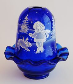 "Fenton ""Winter"" Mary Gregory fairy lamp   2005"
