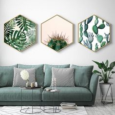 Home Hexagon Green Plant Painting Plant Framed Art Christmas Gift Living . - Home Hexagon Green Plant painting plant framed art Christmas gift living room decor gift for her ho - Green Dining Room, Living Room Green, Living Room Interior, Living Rooms, Apartment Living, Living Area, Green Living Room Furniture, Apartment Design, Kitchen Living