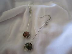 "Use coupon code: PIN10 for 10% off! Shown here in #sterling silver women's dangle #earrings, sterling silver swirl over brown bead, approx. 1- 1.5"" I have many other beads and sizes to choose from...just ask! ..."