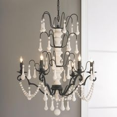 White Wood Spindle and Iron Chandelier