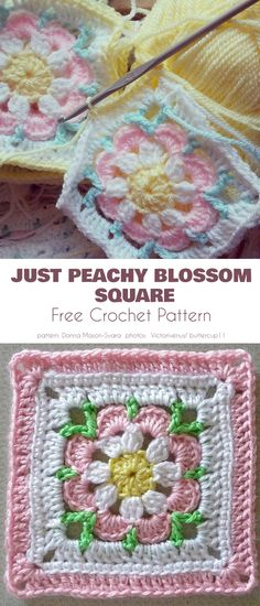 Flower Square To Remember Free Crochet Patterns Just Peachy Blossom Square The Effective Pictures We Offer You About Crochet mittens A quality picture can tell. Crochet Flower Squares, Crochet Squares Afghan, Crochet Blocks, Granny Square Crochet Pattern, Afghan Crochet Patterns, Crochet Motif, Crochet Stitches, Knitting Patterns, Crochet Granny