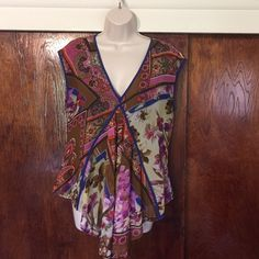"Sleeveless chiffon print top Double layer a-line style attached sheer print over dark purple/blue rounded hem no size tag or fabric label bust 38"" waist 36"" length 23""-28"" Alberto Makali Tops Blouses"