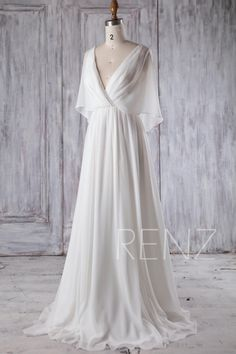 Beach Wedding Dress White Chiffon Evening Dress Long Sleeve Gown Simple Wedding Dresses Bridal Dress Floor Length : Bridesmaid Dress Off White Chiffon Wedding DressRuched V Neck Long Sleeve Evening Dresses, Long Sleeve Gown, Chiffon Evening Dresses, White Chiffon Dresses, Simple Long White Dress, Bridesmaid Dresses Long Sleeve, White Velvet Dress, Wedding Dress Chiffon, Bridesmaid Outfit