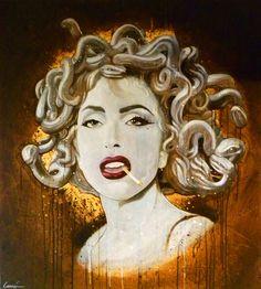 "Saatchi Art Artist: Bryan Lanier; Acrylic 2010 Painting """"GaGa as Medusa"""""