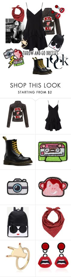 """""""easy rock n roll"""" by sofizophe ❤ liked on Polyvore featuring Dr. Martens, Kipling and Barneys New York"""