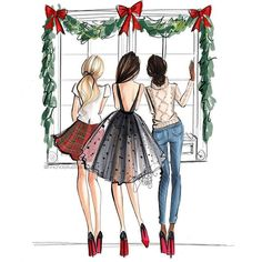 "'''Twas the night before Christmas...."" #fashionsketch #fashionillustration #fashionillustrator #boston #bostonblogger #bostonillustrator #copic #copicmarkers #copicart #hnicholsillustration #christmaseve #merrychristmas"