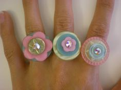 I am thinking girl's birthday party craft... *Crafter's Delights*: Tutorial: How to Make a Button Ring