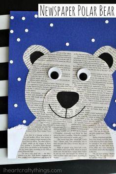 Newspaper Polar Bear Craft is part of Winter crafts Preschool - This newspaper polar bear craft is perfect for a winter kids craft, preschool craft, newspaper craft and arctic animal crafts for kids Animal Crafts For Kids, Winter Crafts For Kids, Winter Kids, Winter Art, Kids Crafts, Arts And Crafts, Craft Kids, Winter Crafts For Preschoolers, Kids Fun