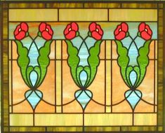 Arts and Crafts Poppy Stained Glass Window