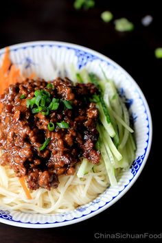 Zha Jiang Mian—Minced Pork Noodles Jump to Recipe Print Recipe Minced Pork Noodles—Zha jiang mian 炸酱面 is a noted noodle dish throughout t. Pork Recipes, Asian Recipes, Cooking Recipes, Healthy Recipes, Asia Food, Pork Noodles, Asian Noodles, Rice Noodles, Eat This