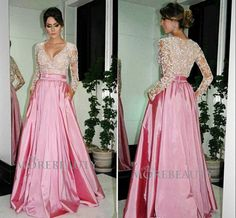 Charming Long Sleeves Prom Dress,Satin,Beading Prom Dress