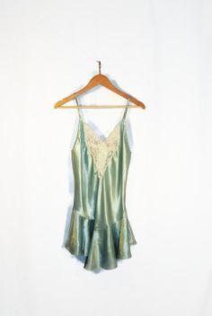 30's Light Seafoam Green Silk Night Gown $40.00