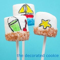 sand, surf and lawn summer marshmallows (and how to dye your own sprinkles) Marshmallow Crafts, Marshmallow Peeps, Summer Camps For Teens, Summer Activities For Kids, Summer Fair, Summer Lesson, Summer Time, Sand Pudding, Beach Ball Cake