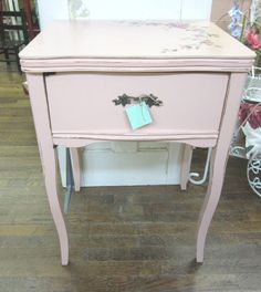 Hand Painted Pink Roses Table Desk  Vintage by rosesnmygarden, $285.00