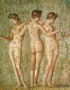 *POMPEII, ITALY ~ Roman civilization, century A. Fresco depicting 'The Three Graces'. From Pompeii Naples, Museo Archeologico Nazionale (Archaeological Museum) Ancient Rome, Ancient Art, Pierre Auguste Cot, Art Romain, Daughter Of Zeus, Daughters, Rome Antique, Pompeii And Herculaneum, Pompeii Italy
