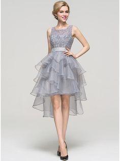 A-Line/Princess Square Neckline Asymmetrical Organza Homecoming Dress With Beading